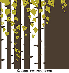 branches., fond, bouleau