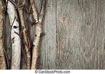 branches, fond, bouleau