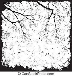 branches, grunge, fond