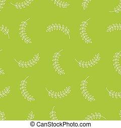 branches, modèle, feuilles, seamless, chartreuse, vecteur, fond