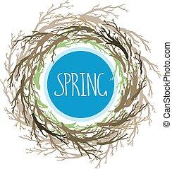 branches, nid, branches, frame., arbre, symbole, couronne, house., main, oiseau, vecteur, dessiné, rond