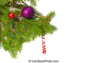 Branches of a fir tree with Christmas ornaments