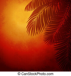 Branches of palm trees at sunset