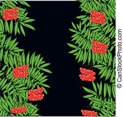 Branches of ripe rowanberry on dark background - Vector...