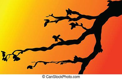 branches on twilight illustration