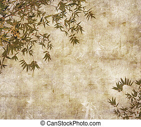 branches, papier, fond, silhouette, bambou