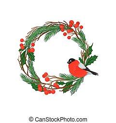 branches, séance, couronne, long, arrière-plan., vecteur, illustration, pin, branch., needles., blanc, bouvreuil