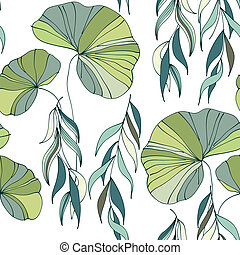 branches, saule, modèle, seamless, fond, lis