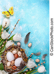 branches, saule, paques, nid, tulipes, oeufs, composition, chat, blanc