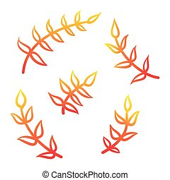 Branches vector hand drawn illustration. Icons on transparent background
