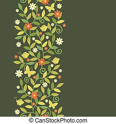branches, vertical, modèle, seamless, papillons, frontière