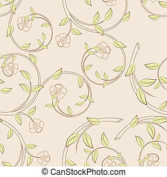Branches with flowers and green leaves seamless vector pattern.