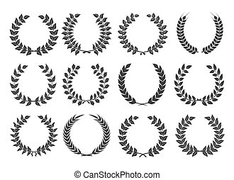 Branches with leaves wreath set