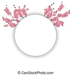 Branches with pink flowers and buds cherry blossoms isolated on white background. illustration