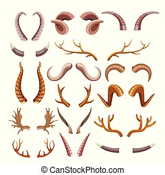Branchy and sharp horns of wild animals set. Hunters natural...