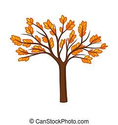 Branchy autumn tree. Vector illustration on a white ...