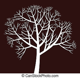 branchy tree - Vector decorative white tree on dark ...
