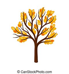 Branchy tree with orange leaves. Vector illustration on a ...