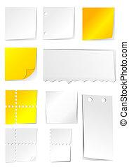branco amarelo, papel, com, buracos