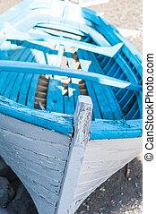 branco azul, bote, em, a, praia, de, santorini