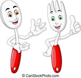 branco vermelho, colher, garfo, caricatura