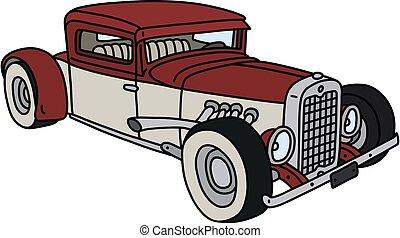 branco vermelho, hotrod, engraçado