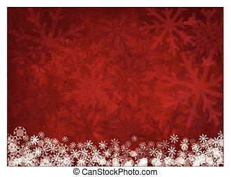 branco vermelho, snowflakes, fundo, natal