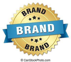 brand 3d gold badge with blue ribbon