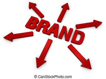 Brand - 3D Text with arrows. Part of a series of business ...