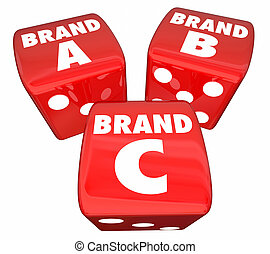 Brand A B C Rolling Dice Choose Best Company Product 3d Illustration