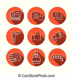 Brand Ambassador Thin Line Outline Icon Set with Megaphone, Influencer Marketing Person & Representative