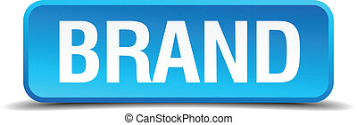 Brand blue 3d realistic square isolated button