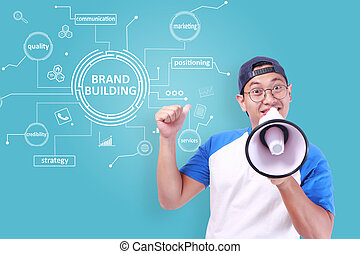 Brand Building, Business Marketing Words Quotes Concept