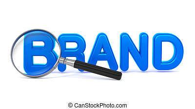 Brand Concept with Magnifying Glass.