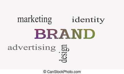 Brand concept word cloud on white background.