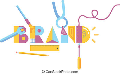 Brand construction concept - Vector illustration of brand ...