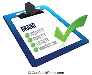 brand core characteristics clipboard illustration design...