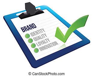 brand core characteristics clipboard illustration design over white