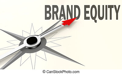 Brand equity word on compass with red arrow