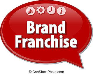 Brand Franchise Business term speech bubble illustration -...