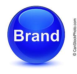 Brand glassy blue round button