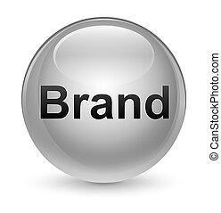 Brand glassy white round button