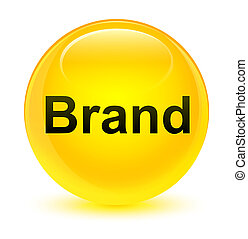 Brand glassy yellow round button