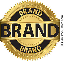 Brand gold label, vector illustration