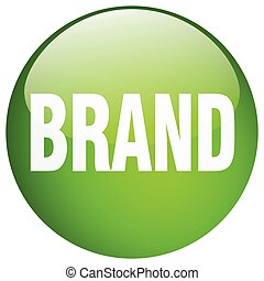 brand green round gel isolated push button