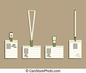 Brand identity elements - Lanyard, name tag holder and badge templates. For cafe, restaurant and other food business. Corporate branding. With Green coffee, dream rainbow logo design. Vector.