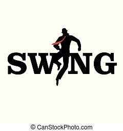 Brand logo. Letters swing. Silhouette of man dancing.