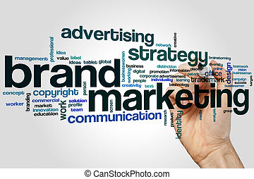 Brand marketing word cloud concept on grey background