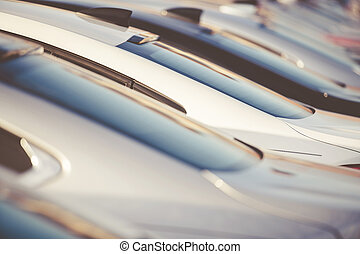 Brand New Cars At Dealership Stock.