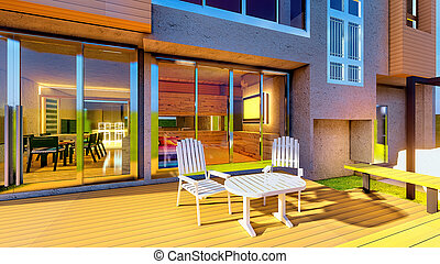 Brand new dream home with front porch 3d rendering